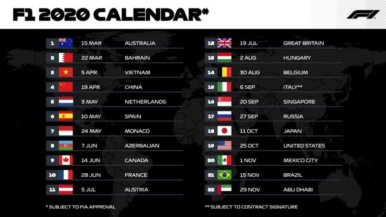 FIA divulga o calendário preliminar da temporada 2020 da F1