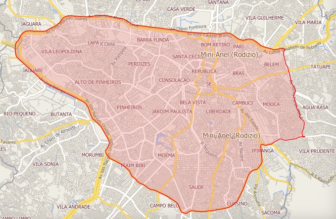 Mapa do rodízio municipal suspenso a partir desta terça