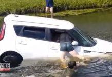 Câmeras registram homem que se atira em canal para salvar motorista