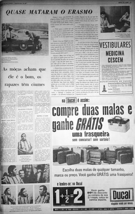 """Fac-símile da edição de 17 de janeiro de 1967 com a notícia de quando """"quase mataram o Erasmo"""""""