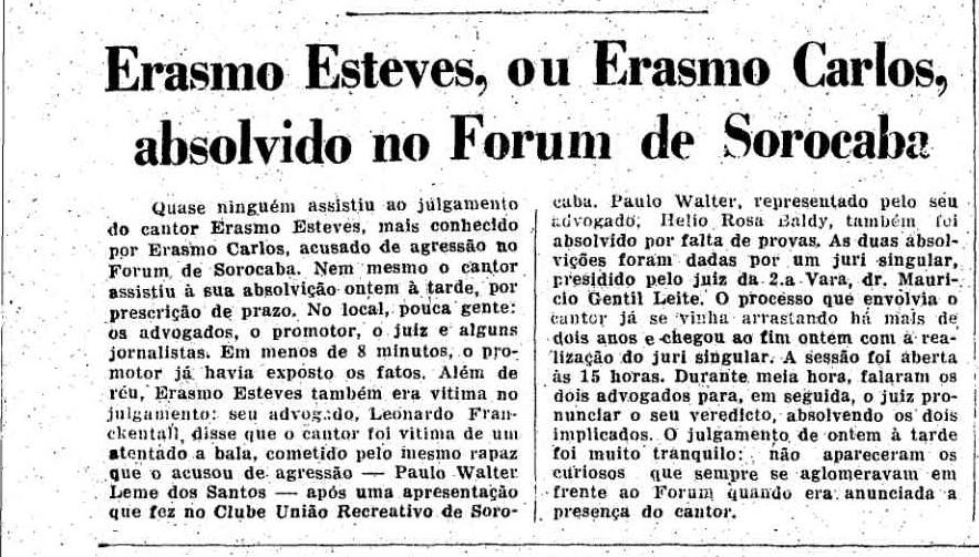 Fac-símile da edição de abril de 1969 do Jorna da Tarde com a notícia da absolvição de Erasmo Carlos