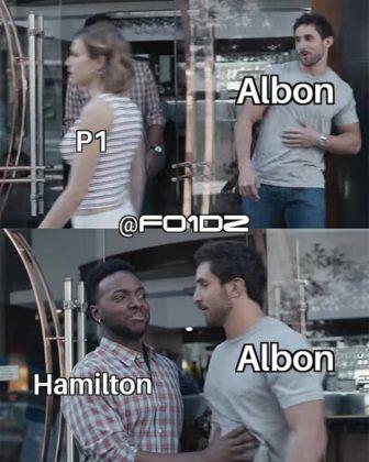 Mais uma batida de Hamilton em Albon e o hexacampeão pode pedir música no Fantástico