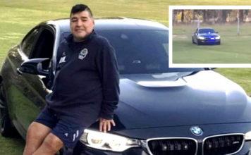 Maradona em seu BMW M4 Coupé avaliado em R$ 1 milhão e equipado com sirene